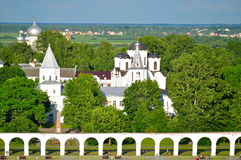 Yaroslav Courtyard in Veliky Novgorod, Russia - birds eye view landscape. Birds eye view landscape of medieval churches and cathedrals of Yaroslav courtyard at Stock Images