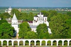 Yaroslav Courtyard in Veliky Novgorod, Russia - birds eye view landscape Stock Images