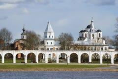 Yaroslav`s court one day in April. Veliky Novgorod Royalty Free Stock Images