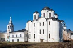 Yaroslav`s Court in Veliky Novgorod. Nikolo-Dvorishchensky Cathedral, an important historical tourist site of Russia stock photography
