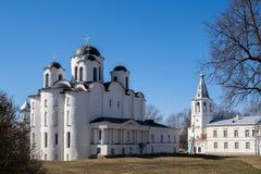 Yaroslav`s Court in Veliky Novgorod. Nikolo-Dvorishchensky Cathedral, an important historical tourist site of Russia.  stock image