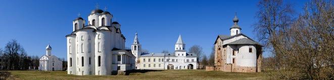Yaroslav`s Court in Veliky Novgorod. Nikolo-Dvorishchensky Cathedral, an important historical tourist site of Russia.  royalty free stock photo