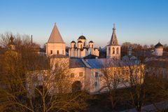 Yaroslav's Court in Veliky Novgorod. Nikolo-Dvorishchensky Cathedral, an important historical tourist site of Russia, aerial view stock photos