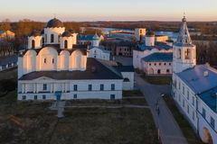 Yaroslav's Court in Veliky Novgorod. Nikolo-Dvorishchensky Cathedral, an important historical tourist site of Russia, aerial view. From drone stock photos
