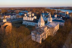 Yaroslav's Court in Veliky Novgorod. Nikolo-Dvorishchensky Cathedral, an important historical tourist site of Russia, aerial view. From drone stock images