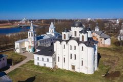 Yaroslav's Court in Veliky Novgorod. Nikolo-Dvorishchensky Cathedral, an important historical tourist site of Russia. Aerial view from drone stock photo