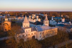 Yaroslav's Court in Veliky Novgorod. Nikolo-Dvorishchensky Cathedral, an important historical tourist site of Russia, aerial view. From drone royalty free stock images