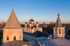 Yaroslav's Court in Veliky Novgorod. Nikolo-Dvorishchensky Cathedral, an important historical tourist site of Russia, aerial view. From drone royalty free stock photography