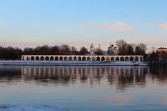 Volkhov River. Yaroslav`s Court. Velikiy Novgorod royalty free stock photo