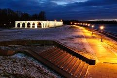 Yaroslav's Courtyard in Veliky Novgorod, Russia - night landscape in winter Royalty Free Stock Photos