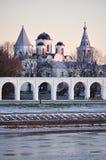 Yaroslav's Courtyard at winter sunset, Veliky Novgorod, Russia Royalty Free Stock Photos