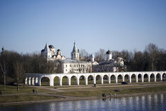 Yaroslav's Yard and the ancient Trading Market Veliky Novgorod. Yaroslav's Yard and the ancient Trading Market of Veliky Novgorod on Volkhov river, Russia Stock Image