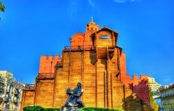 Yaroslav the Wise Monument and the Golden Gates of Kiev - Ukrain Stock Images