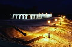 Yaroslav's Courtyard in Veliky Novgorod, Russia - winter landscape Royalty Free Stock Photo