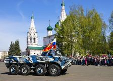 YAROSLAVL, ΡΩΣΙΑ 9 ΜΑΐΟΥ στρατιωτική παρέλαση προς τιμή τη νίκη Στοκ Εικόνες