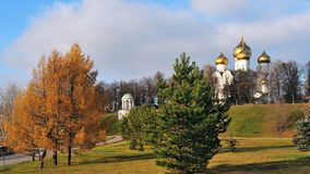 Yaroslavl, autumn view of the historical district `Strelka`. Assumption Cathedral and Rotunda in the background Royalty Free Stock Photo