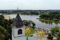 Yaroslavl is one of the oldest Russian cities, founded in the XI century. The Museum-reserve Yaroslavl Kremlin. View from the bel. YAROSLAVL, RUSSIA - JUNE 23 royalty free stock photos