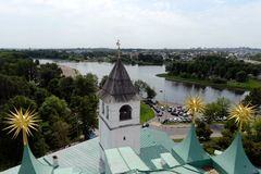 Yaroslavl is one of the oldest Russian cities, founded in the XI century. The Museum-reserve Yaroslavl Kremlin. View from the bel. YAROSLAVL, RUSSIA  - JUNE 23 stock image