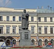 Yaroslavl, Rusland Een monument aan de prins Yaroslav Wijs - aan de stichter van Yaroslavl bij Bogoyavlenskaya-Vierkant stock afbeeldingen