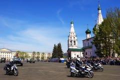 YAROSLAVL, 9 RUSLAND-MEI militaire parade ter ere van de overwinning Stock Afbeelding