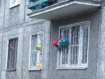 Yaroslavl, Russia. Bags are hanging on the window grilles stock photos