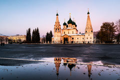 Yaroslavl, Russia. Church of Elijah the Prophet. In Yaroslavl, Russia with sunset colorful sky. It is a famous landmark in the city located at the Soviet square Royalty Free Stock Photo