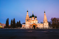 Yaroslavl, Russia. Church of Elijah the Prophet. In Yaroslavl, Russia with sunset colorful sky. It is a famous landmark in the city located at the Soviet square Stock Photo