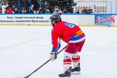 Yaroslavl, Russia - January 6, 2018: the tournament Student Ice. Player of the team Tekstilschik royalty free stock image