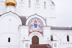 YAROSLAVL, RUSSIA View of the Assumption Church in Yaroslavl, Russia. A popular touristic landmark. YAROSLAVL, RUSSIA - June 28, 2015: View of the Assumption royalty free stock image