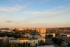 Yaroslavl. Sunset. Top view of residential buildings and the rai. Lway Stock Photography