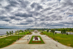 Yaroslavl Town Park under dramatic Cloudscape Royalty Free Stock Photography