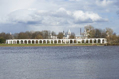 Yaroslavovo courtyard, cloudy April day. Velikiy Novgorod Royalty Free Stock Photo