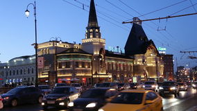 Yaroslavsky railway station building and night traffic, Moscow, Russia. Is one of nine main railway stations in Moscow, situated on Komsomolskaya Square stock footage