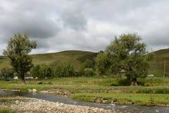Ο ποταμός Yarovka βουνών στο χωριό Generalka του εδάφους Altai Δυτική Σιβηρία r στοκ εικόνες με δικαίωμα ελεύθερης χρήσης