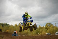 Yarovoy Evgeniy 6. SERPUKHOV, RUSSIA - OCTOBER 7, 2017: Yarovoy Evgeniy 6,  Class ATV, in the 4 stage  MX series, the Red Wings Cup 2017 super country-cross Royalty Free Stock Photography