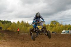 Yarovoy Valeriy 88. SERPUKHOV, RUSSIA - OCTOBER 7, 2017: Yarovoy Valeriy 88,  Class ATV, in the 4 stage  MX series, the Red Wings Cup 2017 super country-cross Stock Photos