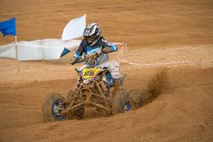 Yarovoy Valeriy 88. SERPUKHOV, RUSSIA - OCTOBER 7, 2017: Yarovoy Valeriy 88,  Class ATV, in the 4 stage  MX series, the Red Wings Cup 2017 super country-cross Stock Photo