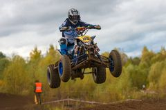 Yarovoy Valeriy 88. SERPUKHOV, RUSSIA - OCTOBER 7, 2017: Yarovoy Valeriy 88,  Class ATV, in the 4 stage  MX series, the Red Wings Cup 2017 super country-cross Royalty Free Stock Photography