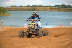 Yarovoy Valeriy 88. SERPUKHOV, RUSSIA - OCTOBER 7, 2017: Yarovoy Valeriy 88,  Class ATV, in the 4 stage  MX series, the Red Wings Cup 2017 super country-cross Stock Photography