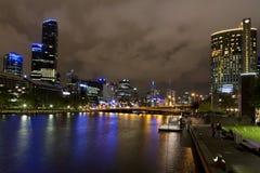 yarra реки ночи melbourne Стоковое Изображение