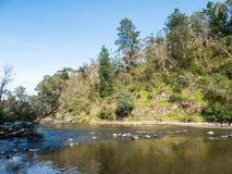 Yarra-Fluss, der die Stadtrandsiedlung von Warrandyte in Australien durchfließt stockfotografie