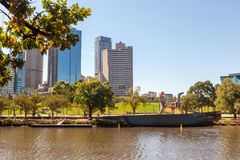 Yarra River banks in Melbourne, Australia. Inner-city park Birrarung Marr on the banks of Yarra River in Melbourne, Australia stock photography