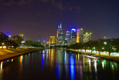 Yarra river and city at night Stock Photos