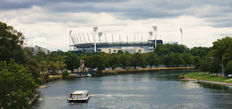 Yarra river and cricket ground in Melbourne Stock Image