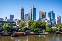 Yarra river and federation square wharf in central Melbourne and Melbourne CBD skyline in Victoria Australia stock photos