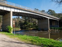 Yarra River flowing through the outer suburb of Warrandyte in Australia. Melbourne, Australia - October 1, 2015: The Warrandyte Bridge crosses the Yarra River stock images