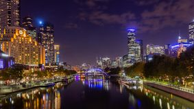 Yarra River and Melbourne city at night. Looking towards Flinders Street Station,Melbourne, Australia royalty free stock images