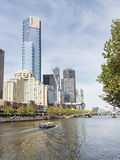 Yarra river, Melbourne. Melbourne - February 23 2016: Eureka skydeck 88, view from Flinders Walk and Yarra river, February 23, 2016 in Melbourne, Australia Stock Photos