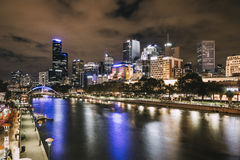 Yarra River, Melbourne. Night shot of Yarra river and Melbourne cityscape stock images