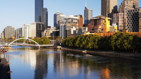 Yarra river morning stock video footage
